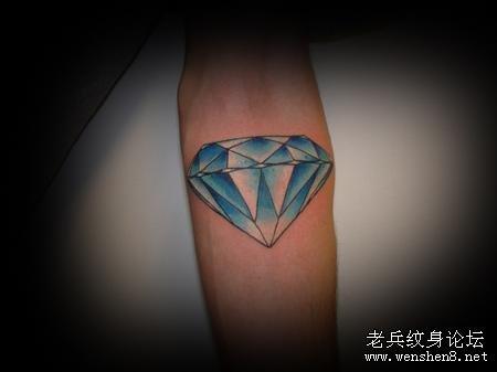 手臂彩色钻石纹身图案大全