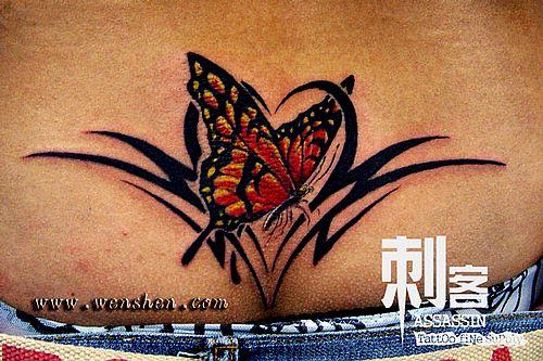 后腰纹身图案大全:后腰图腾蝴蝶腰花纹身图案图片