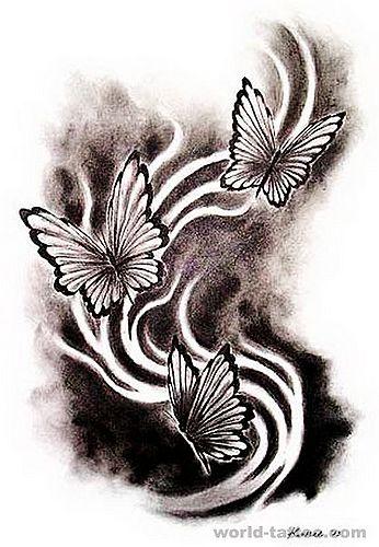 一款特别的黑白蝴蝶文身(tattoo)图案图片