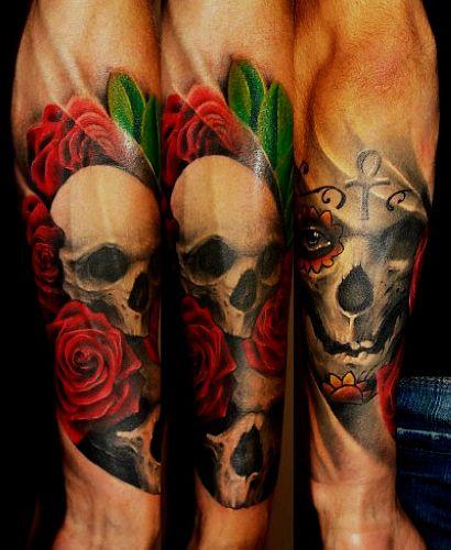 湖北黄石文身店:欧美花臂骷髅玫瑰纹身图案图片