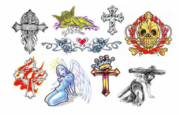 几款时尚彩色十字架纹身图案纹身图片