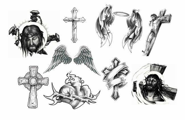 几款十字架翅膀耶稣纹身图案纹身图片