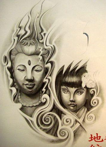 一款观音头像欧美娃娃纹身图案纹身图片