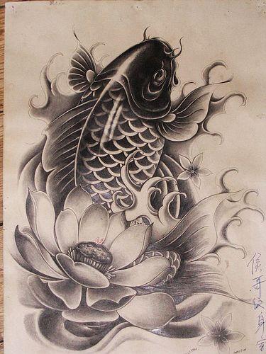 湖北襄阳纹身店:黑白鲤鱼莲花纹身图案图片