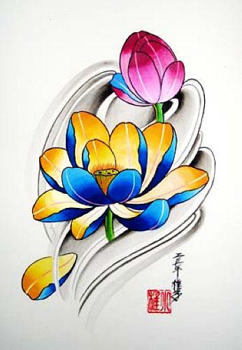 湖南长沙纹身店:推荐一款彩色莲花纹身图案大全