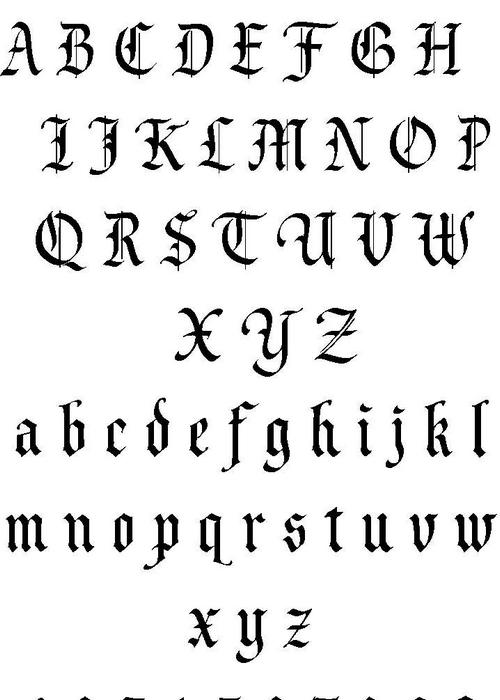武汉专业纹身店:图腾歌特字母纹身图案图片