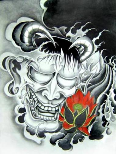 湖北仙桃纹身店:黑白般若手稿纹身图案图片大全