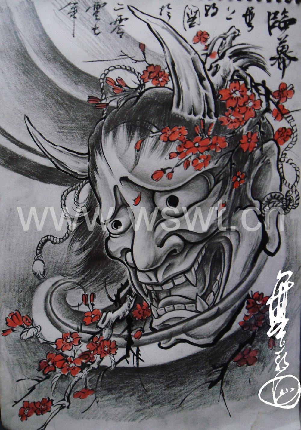 武汉纹身网:日本般若文身图案图片_老兵武汉纹