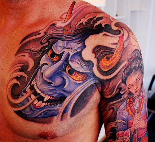 中国最好的纹身店:半胛般若美女纹身图案图片
