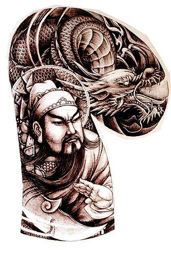湖北专业纹身店推荐一款半胛关公战龙纹身图案图片