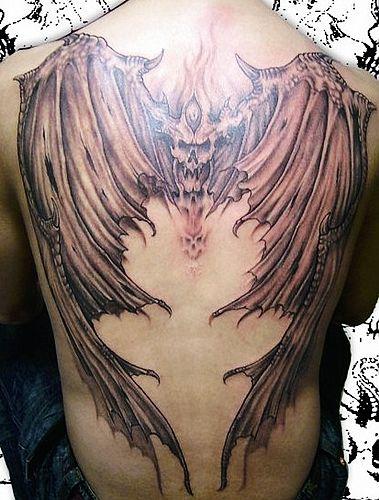 武汉最好的纹身店 满背恶魔翅膀纹身图案图片 高清图片