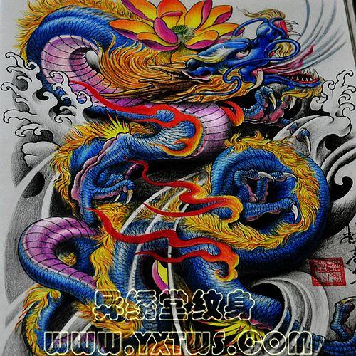 专业纹身店:一款适合纹满背的彩色龙莲花纹身