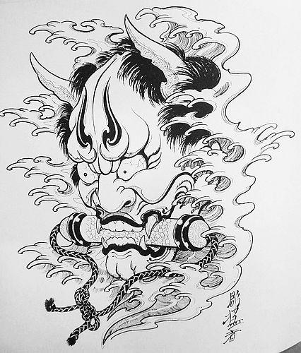 武汉专业文身店:线条日本般若纹身(tattoo)图案图