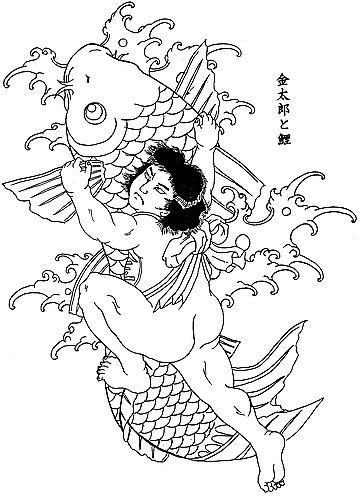 武汉最好的纹身店:满背割线鲤鱼纹身图案图片