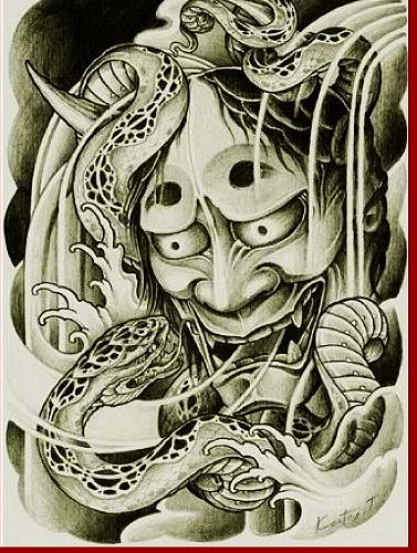 老兵纹身店:般若蛇纹身(tattoo)图案图片