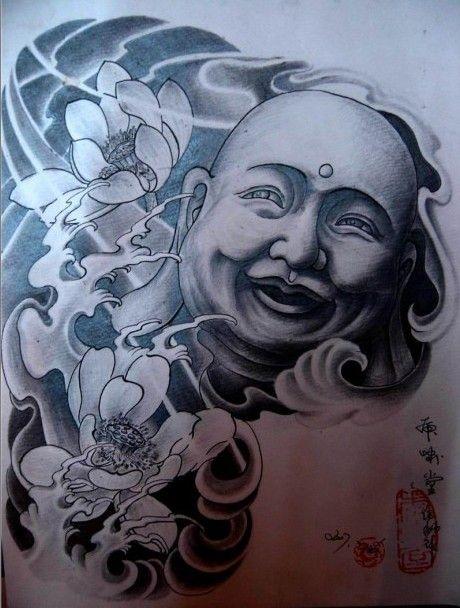 湖北宜昌纹身店:半胛黑白弥勒佛纹身图案图片