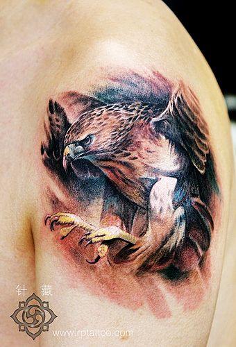 专业老兵纹身店:手臂彩色老鹰纹身图案图片大全图片