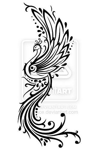 武汉纹身网:一款适合纹后背的图腾凤凰纹身图案图片
