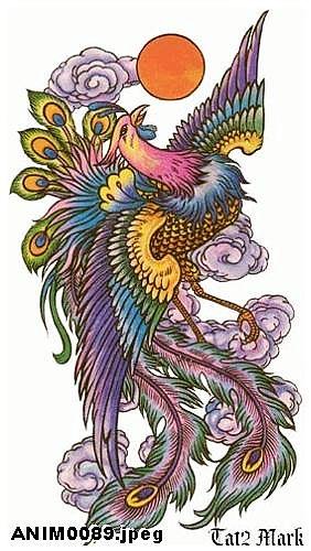 武汉老兵纹身店:一款适合纹满背的彩色凤凰文身图案图片