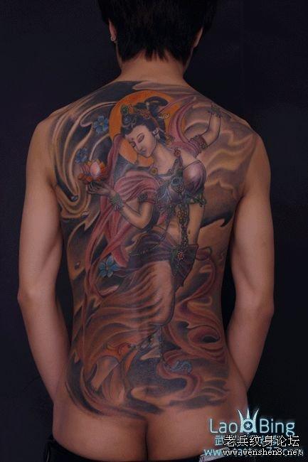 最好的纹身店:满背飞天纹身图案图片的含义