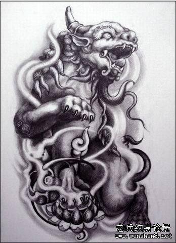 平安祥和的寓意 查看更多石狮子纹身图案请登陆老兵