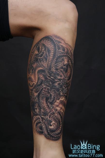 武汉最好纹身店:经典的腿部龙纹身图案作品
