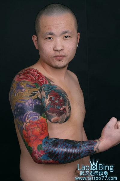花臂般若鲤鱼牡丹纹身图案作品