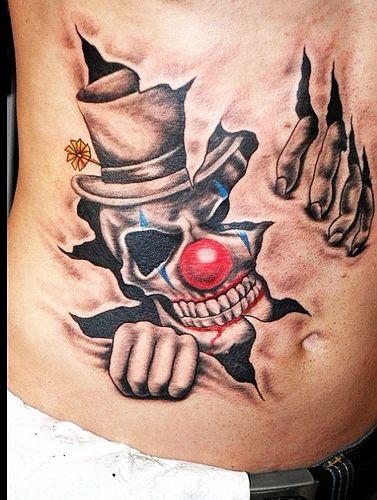 撕皮小丑纹身图案图片大全