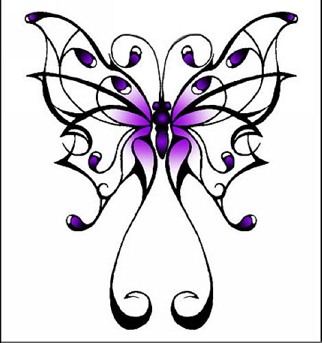 一款漂亮的图腾蝴蝶纹身图案图片大全