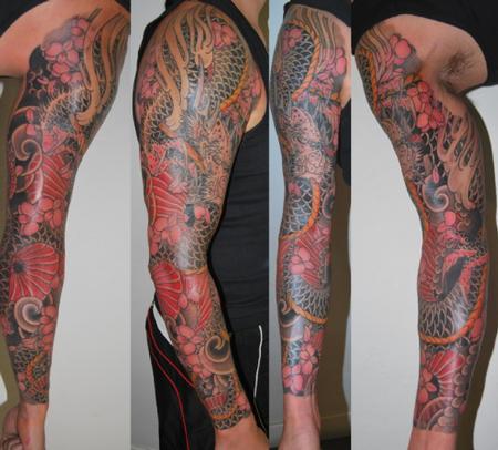 超酷的花臂盘臂龙纹身图案图片大全