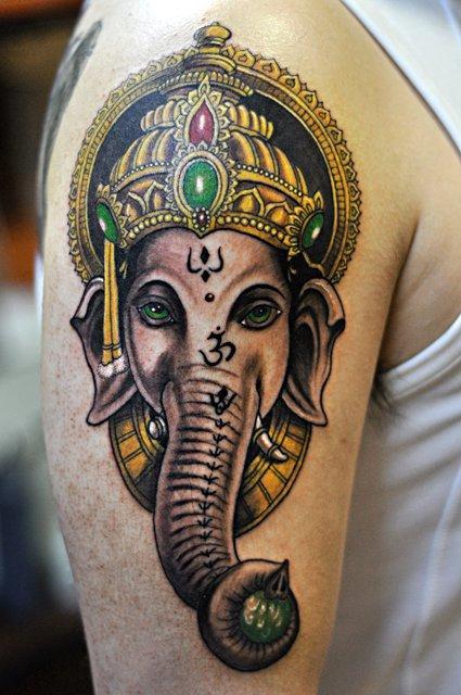 大臂象神纹身图案图片大全