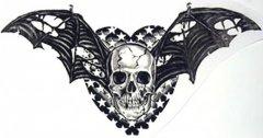 专业纹身店:骷髅蝙蝠翅膀纹身图案 (240x126)图片