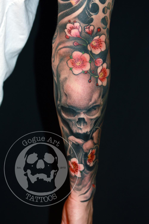 手臂骷髅樱花纹身图案图片大全