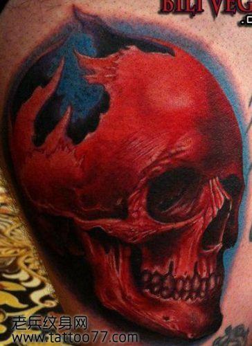 欧美3d彩色骷髅纹身图案