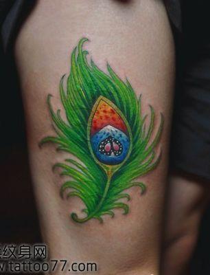时尚靓丽的孔雀羽毛纹身图案