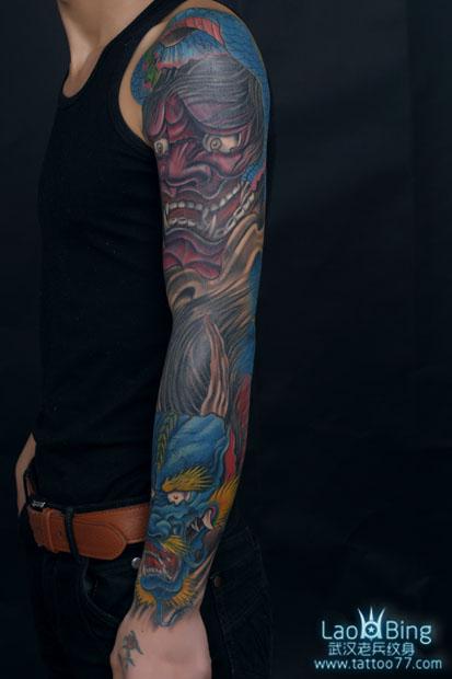 般若花臂纹身_武汉专业纹身店:遮盖失败纹身--霸的花臂般若龙纹身图案作品