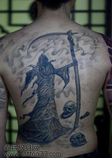 超酷的满背死神纹身图案