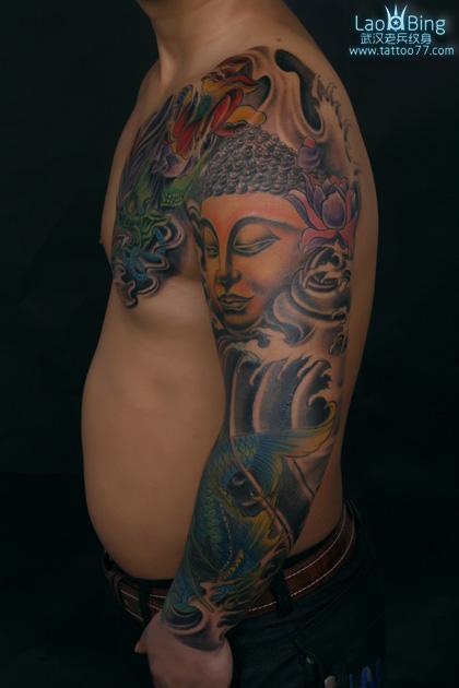 般若花臂纹身_武汉专业纹身店:花臂半胛般若佛头鳌鱼纹身图案作品