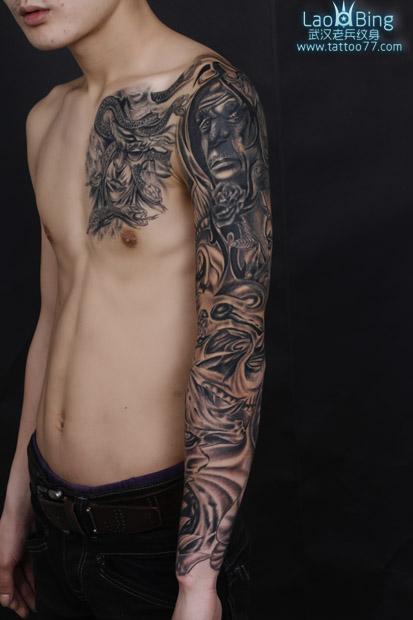 武汉专业纹身店 遮盖失败纹身 欧美花臂半胛纹身图案作品