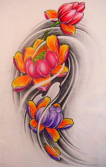 好看彩色莲花纹身图案