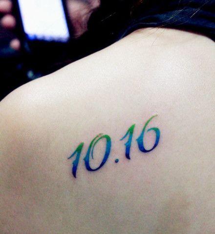 肩部好看的彩色数字纹身图案图片