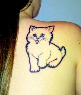 一款女孩子肩背可爱图腾猫咪纹身图案