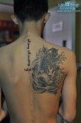 武汉专业纹身店:美女颈部阿拉伯文字纹身图案作品