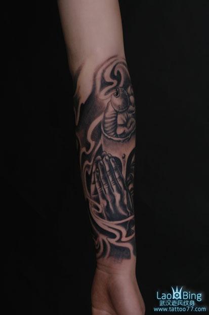 武汉专业纹身店:小臂佛纹身图案作品