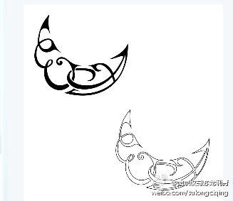 流行时尚的图腾月亮纹身图案图片