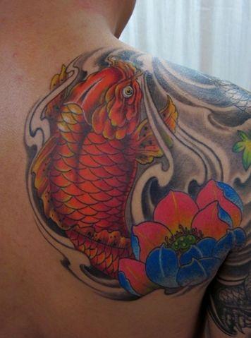 鲤鱼 莲花 纹身 手稿 小臂展示