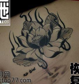 肩背好看的黑白莲花纹身图案