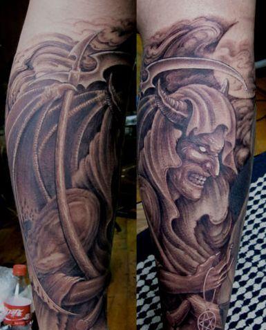 腿部超酷的恶魔纹身图案