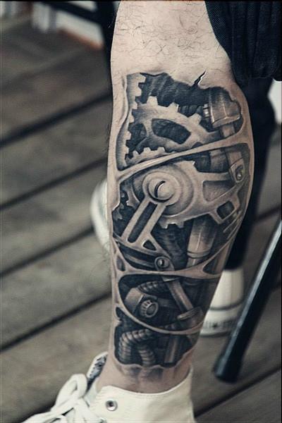 腿部超酷的机械臂纹身图案图片