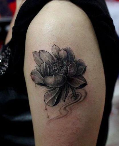 手臂一款黑白素描莲花纹身图案